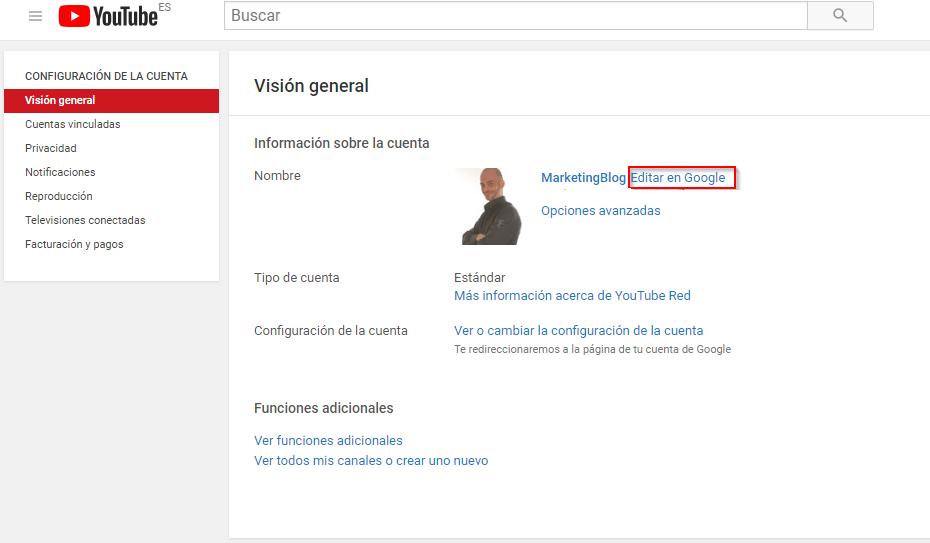 como cambiar el nombre de tu canal de youtube 2