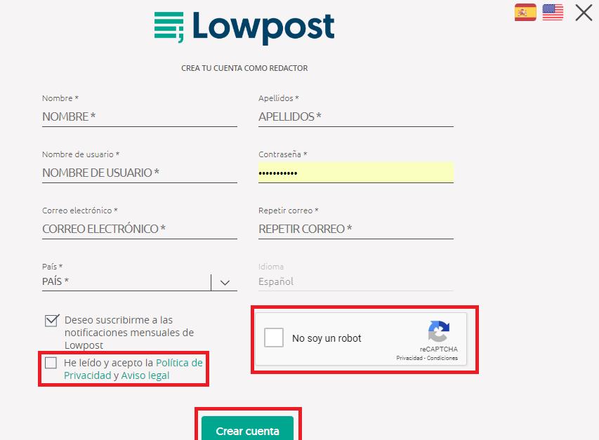 crear cuenta redactor lowpost