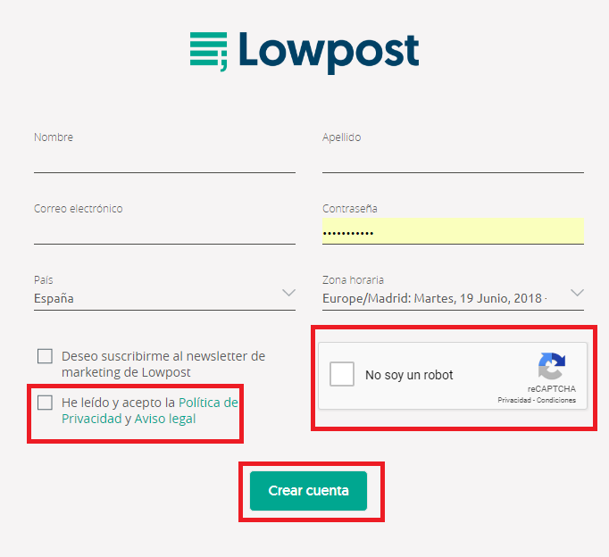 registrarse en lowpost 2